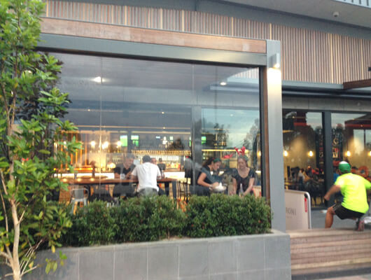 Ziptrak blinds in Groove train epping plaza