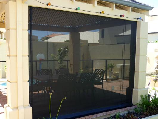 cafe blinds std shade mesh black skirt