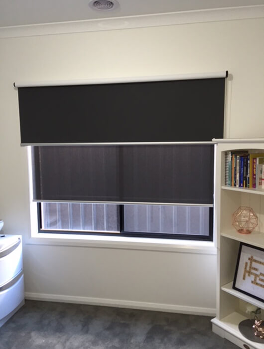 dark double roller blinds