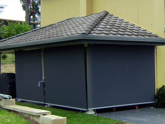 outdoor straight drop blinds templestowe