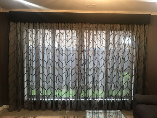 designer sheer curtains with warwick padded-pelmet
