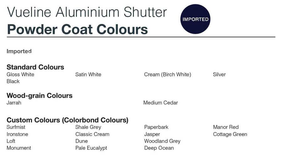 vueline powdercoat colours
