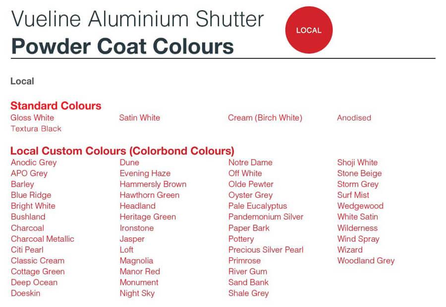 vueline powdercoat local colours